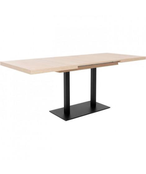 ORLANDO Table a manger a rallonge - Style industriel - Décor chene sonoma et noir - L 120-200 x P 80 x H 75 cm