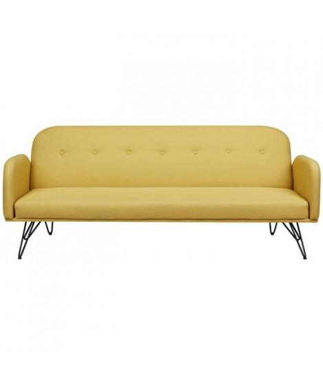 MELPI Canapé droit convertible 4 places - Tissu jaune moutarde - Scandinave - L 195 x P 82 cm