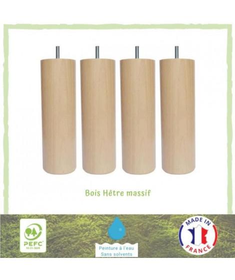 Jeu de pieds cylindriques en bois Ø 6,2 cm - H 24,5 cm - Lot de 4