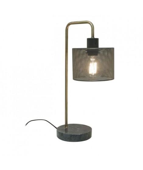 THE HOME DECO LIGHT Lampe a poser LA12056 - Gris perforé socle marbre M4