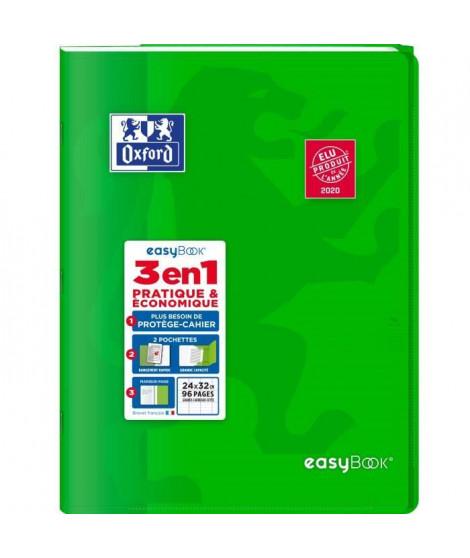 OXFORD - Cahier Easybook agrafé - 24 x 32 cm - 96p seyes - 90g - Vert