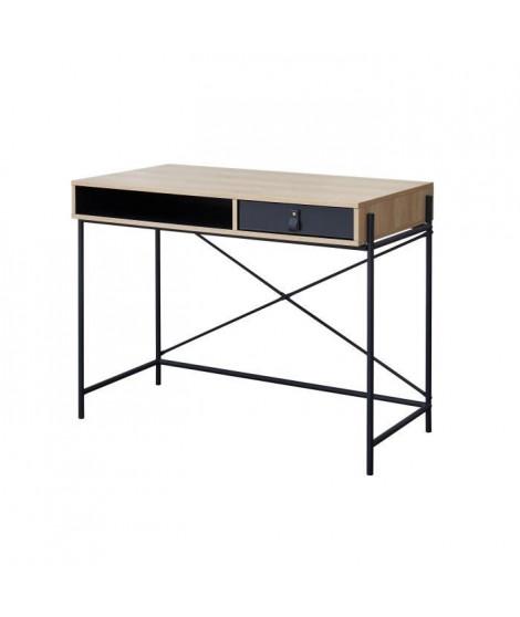 WORKSHOP Bureau enfant - 1 tiroir et 1 niche - Poignée boucle en pvc - Chene/Noir - L99,8 x P55 x H77,4 cm