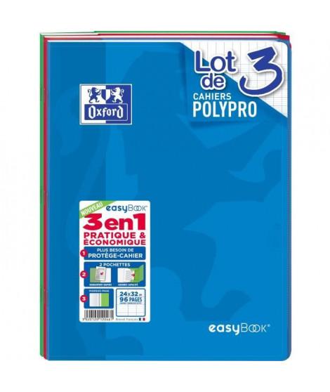 OXFORD Lot de 3 cahiers agrafés 96 pages seyes 24 x 32 cm Easybook - 90g - Coloris assortis