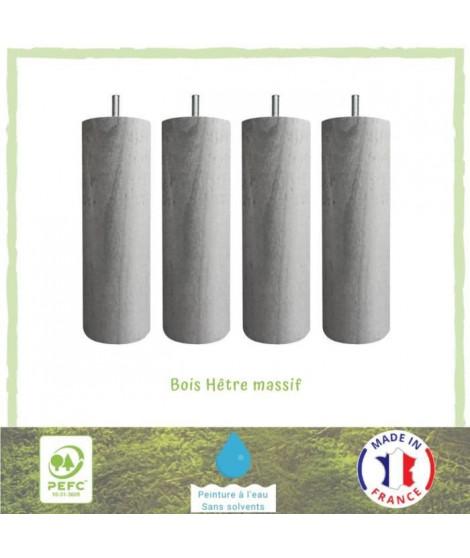Jeu de pieds cylindriques Ø 7 cm H 15 cm Gris métal - Lot de 4