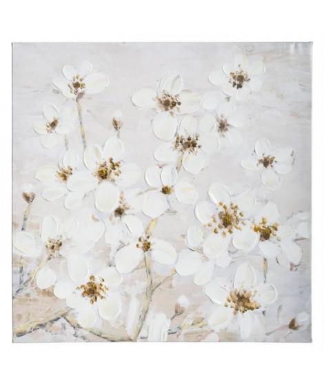 Toile peinte Fleurs - 58 x 58 cm - Blanc