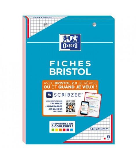 OXFORD - Bloc fiche bristol 2.0 perforé - 14,8 x 21 cm - 30 fiches - 210g - 5x5 - Rouge