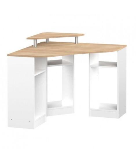 BOBBY Bureau d'angle contemporain blanc et décor chene - L 94 cm