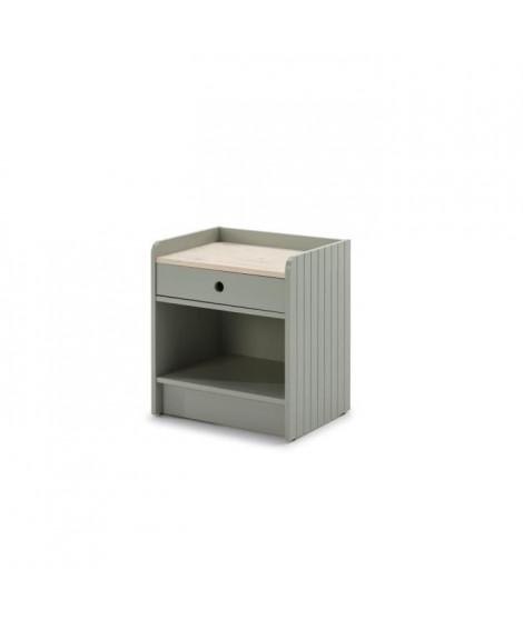 ARIANE Table de chevet MDF et PIN  1 Tiroir - Décor vert et blanc ciré - L 46 x L 35 xH 52 cm