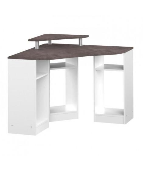 BOBBY Bureau avec rangement - Décor béton et blanc - L 94 x P 94 x H 81,8 cm