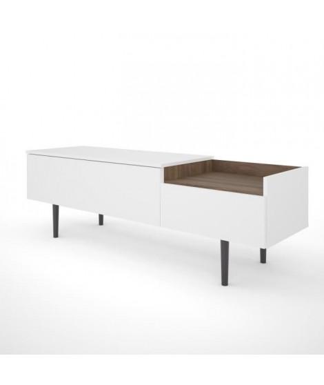 UNIT Meuble TV 2 tiroirs - Décor noyer et blanc - L 147,2 x P 42 x H 48,1 cm
