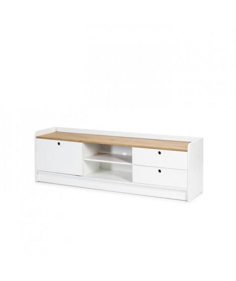 ARIANE Meuble TV 2 portes 2 tiroirs - Décor ciré et blanc - L 160 x P 37 x H 51 cm