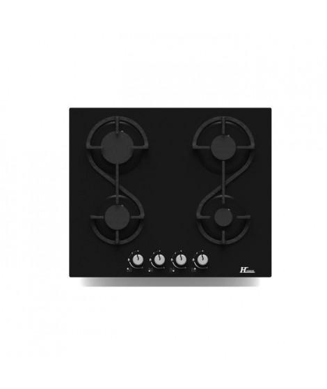 HUDSON HTG 4 VN -  Table de cuisson gaz - 4 foyers - L 60 cm - Revetement verre - Noir