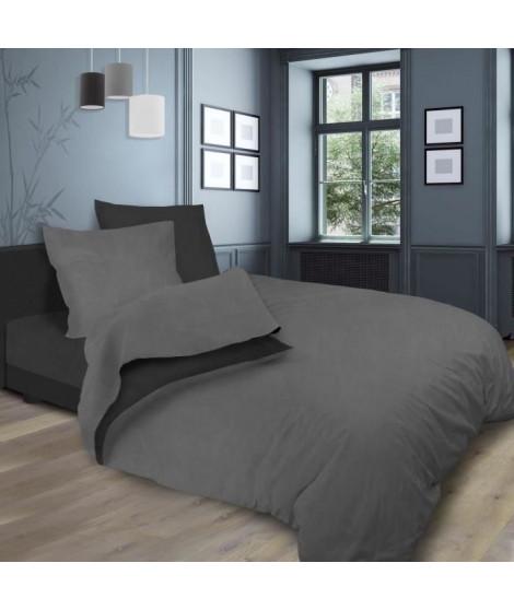 SOLEIL d'OCRE Parure de lit bicolore - Coton lavé - 240 x 290 cm - Gris et gris anthracite