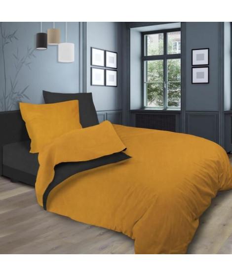 SOLEIL d'OCRE Parure de lit bicolore - Coton lavé - 240 x 290 cm - Jaune moutarde et gris anthracite