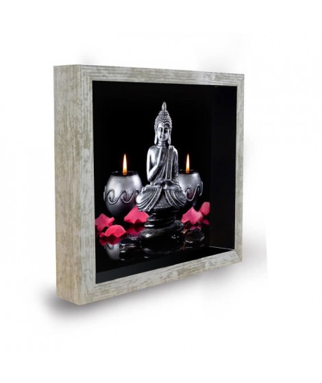 BOUDDHA Tableau déco cadre vitrine 20x20 - Bouddha bougies