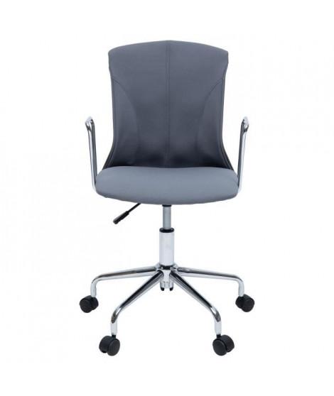 DERA Chaise de bureau - Tissu gris - Contemporain - L 52 x P 52 cm