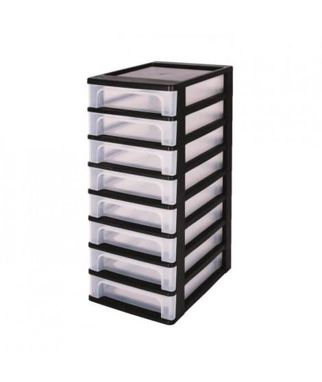 IRIS OHYAMA Tour de rangement 8 tiroirs - Plastique - Noir - 32 L - 35,5 x 26 x 65,5 cm