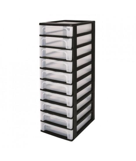 IRIS OHYAMA Tour de rangement 10 tiroirs - Plastique - Noir - 40 L - 35,5 x 26 x 82 cm
