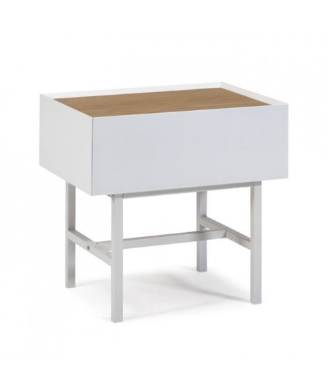 ARISTA Chevet 1 tiroir - Blanc - L 48 x P 35 x H 48 cm