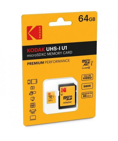 KODAK Class10 U1 Carte mémoire microSDHC - 64 GB - Avec adaptateur