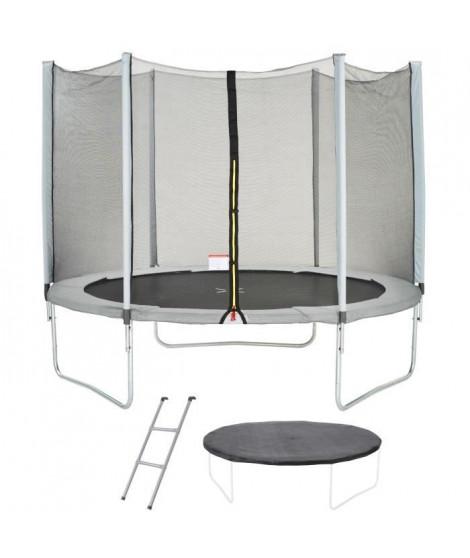 Trampoline MAXI ECO Ø 300 cm Gris - Filet, Echelle, Couverture de Protection