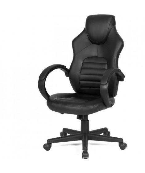 Chaise de bureau gaming - Simili noir - L 58 x P 70 x H 98-116 cm - ARK