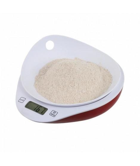 DOMOCLIP MEN352 Balance de cuisine avec bol – Rouge et Blanc