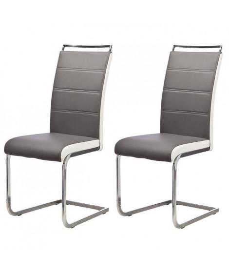 DYLAN Lot de 2 chaises de salle a manger - Simili gris et blanc - Contemporain - L 42,5 x 56 cm