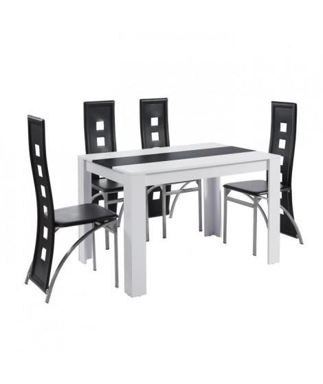 DAMIA Ensemble table a manger + 4 chaises blanc et noir melaminé - L 120 x l 80 x H 75 cm