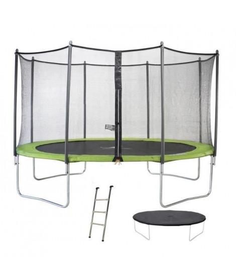 KANGUI Trampoline TWIN Ø 360cm - Vert - avec filet, échelle, couverture de protection