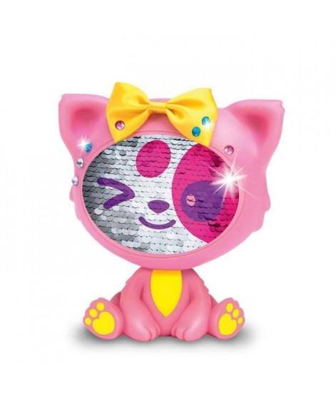 LES ZEQUINS Animal 14 cm avec sequins magiques - Chat rose - Shimmy