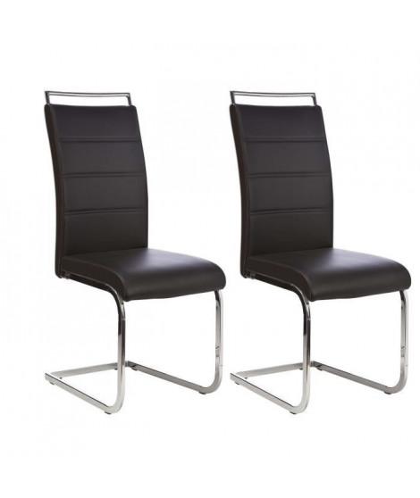 DYLAN Lot de 2 chaises de salle a manger - Simili noir - Contemporain - L 42,5 x P 56 cm