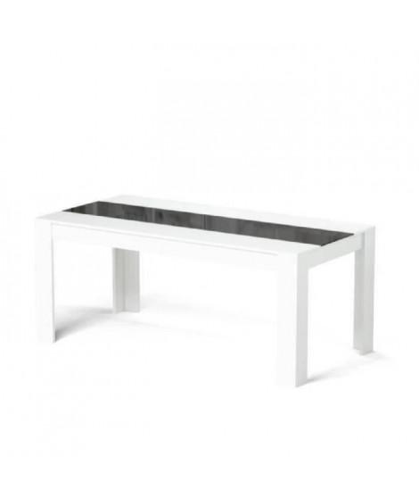 DAMIA Table a manger de 6 a 8 personnes style contemporain blanc et noir mat - L 180 x l 90 cm