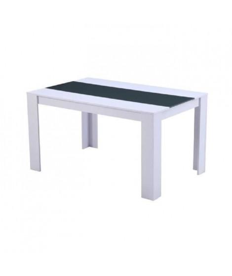 DAMIA Table a manger de 4 a 6 personnes style contemporain blanc et gris mat - L 140 x l 90 cm