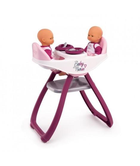 SMOBY Baby Nurse Chaise Haute Jumeaux + 4 Accessoires