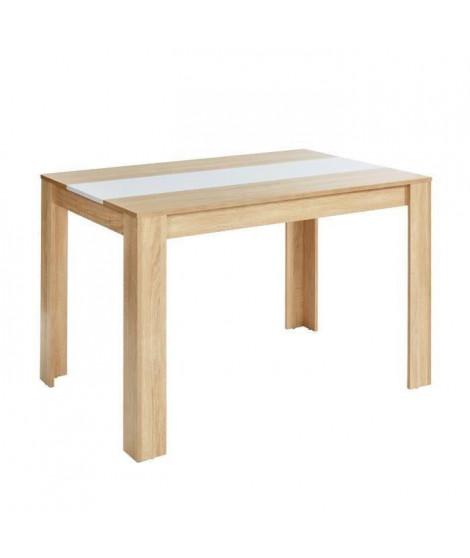 DAMIA Table a manger de 4 a 6 personnes style contemporain décor chene et blanc mat - L 140 x l 90 cm