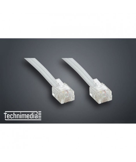 TECHNIMEDIA 9139TM03 Câble RJ11 Haut-Débit ADSL - 5 m - Blanc