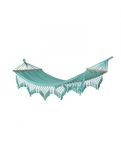 Hamac a frange Bocarnea - 100 x 200 cm - Coton 300 mg - Couleur turquoise