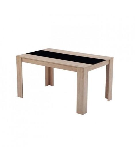 DAMIA Table a manger de 4 a 6 personnes style contemporain décor chene et noir mat - L 140 x l 90 cm