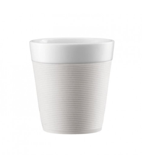 BODUM BISTRO Set 2 mugs en porcelaine avec bande silicone 0,17L blanc creme