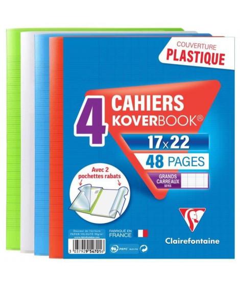 CLAIREFONTAINE Lot de 4 Koverbook Cahier piqure 48 pages avec rabats - 170 x 220 mm - Seyes papier PEFC 90 g