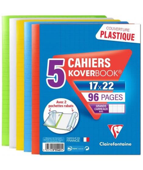CLAIREFONTAINE Lot de 5 Koverbook Cahier piqure 96 pages avec rabats - 170 x 220 mm - Seyes papier PEFC 90 g - 5 couleurs ass…