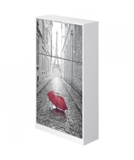 PARIS Meuble a chaussures contemporain mélaminé blanc mat - L 75 cm