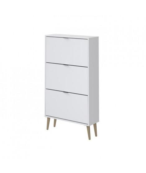 Meuble a chaussures blanc 3 Portes - Style scandinave - L 75 cm