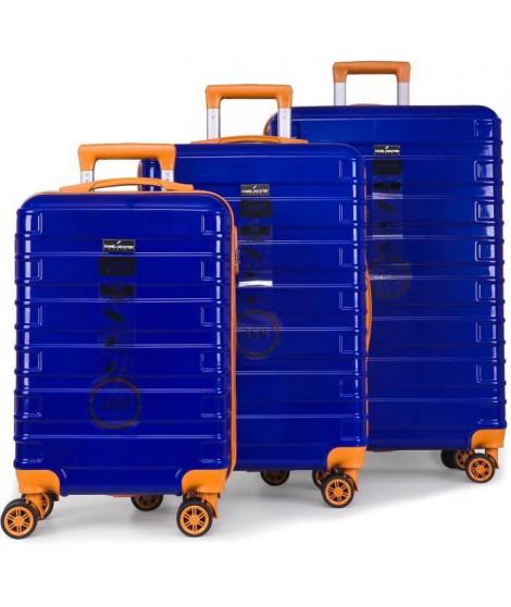 DANIEL HECHTER Set de 3 Valises Trolley DHV0001 Rigide Polycarbonate - 8 Roues - 50-60-70 cm - Bleu marine