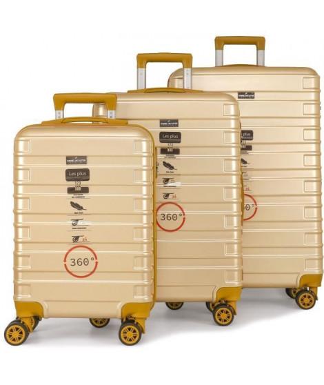 DANIEL HECHTER Set de 3 Valises Trolley DHV0001 Rigide Polycarbonate - 8 Roues - 50-60-70 cm - Champagne