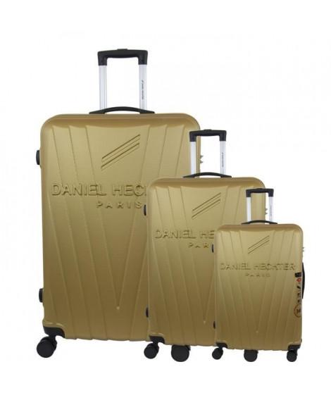 DANIEL HECHTER Set de 3 Valises Trolley DHVSTTROPEZ Rigide ABS - 8 Roues - Cadenas TSA - 50-60-70 cm - Or