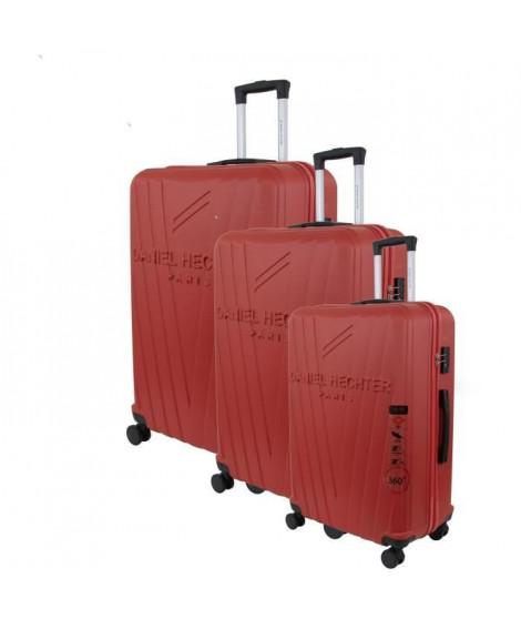 DANIEL HECHTER Set de 3 Valises Trolley DHVSTTROPEZ Rigide ABS - 8 Roues - Cadenas TSA - 50-60-70 cm - Rouge