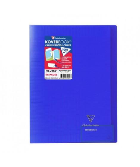 CLAIREFONTAINE Koverbook Cahier piqure avec rabats - 210 x 297 mm - 96 pages - Seyes papier PEFC 90 g - Bleu marine