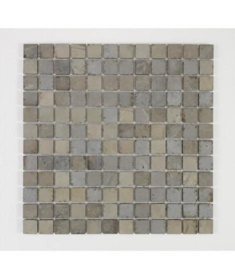 U-TILE Mosaique en pierre naturelle 30 x 30 cm - carreau 2,5 x 2,5 cm - beige foncé